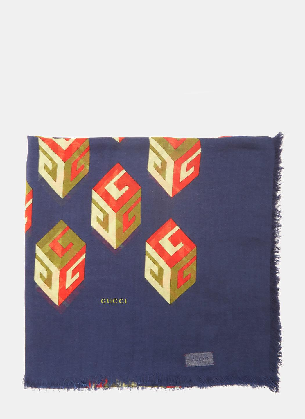 Gucci Gg Wallpaper Print Modal Silk Shawl In Blue In Navy