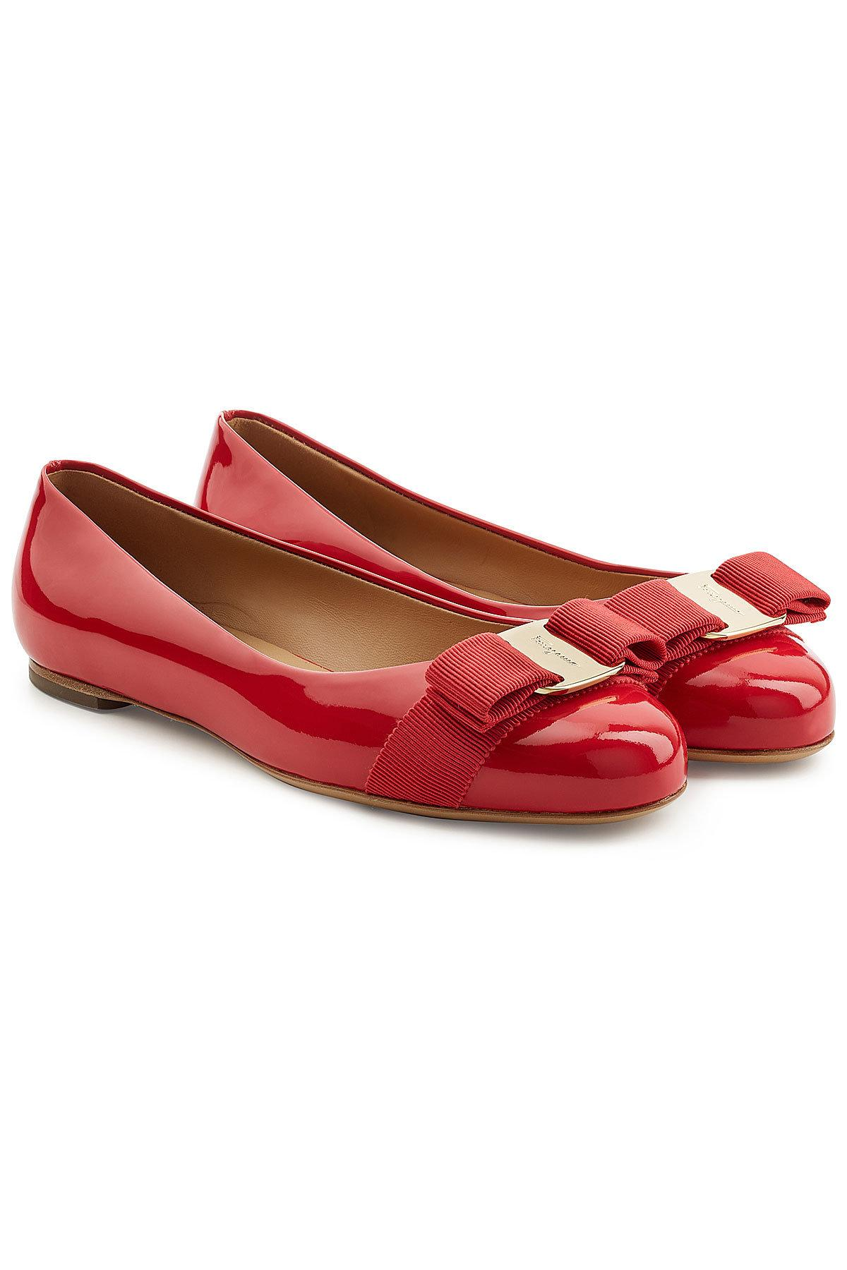 Salvatore Ferragamo Varina Patent Leather Ballet Flats In Red