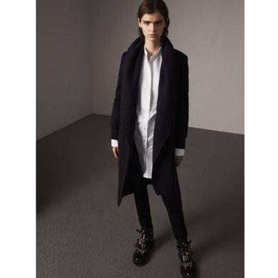 Burberry Detachable Rib Knit Collar Cashmere Coat In Navy
