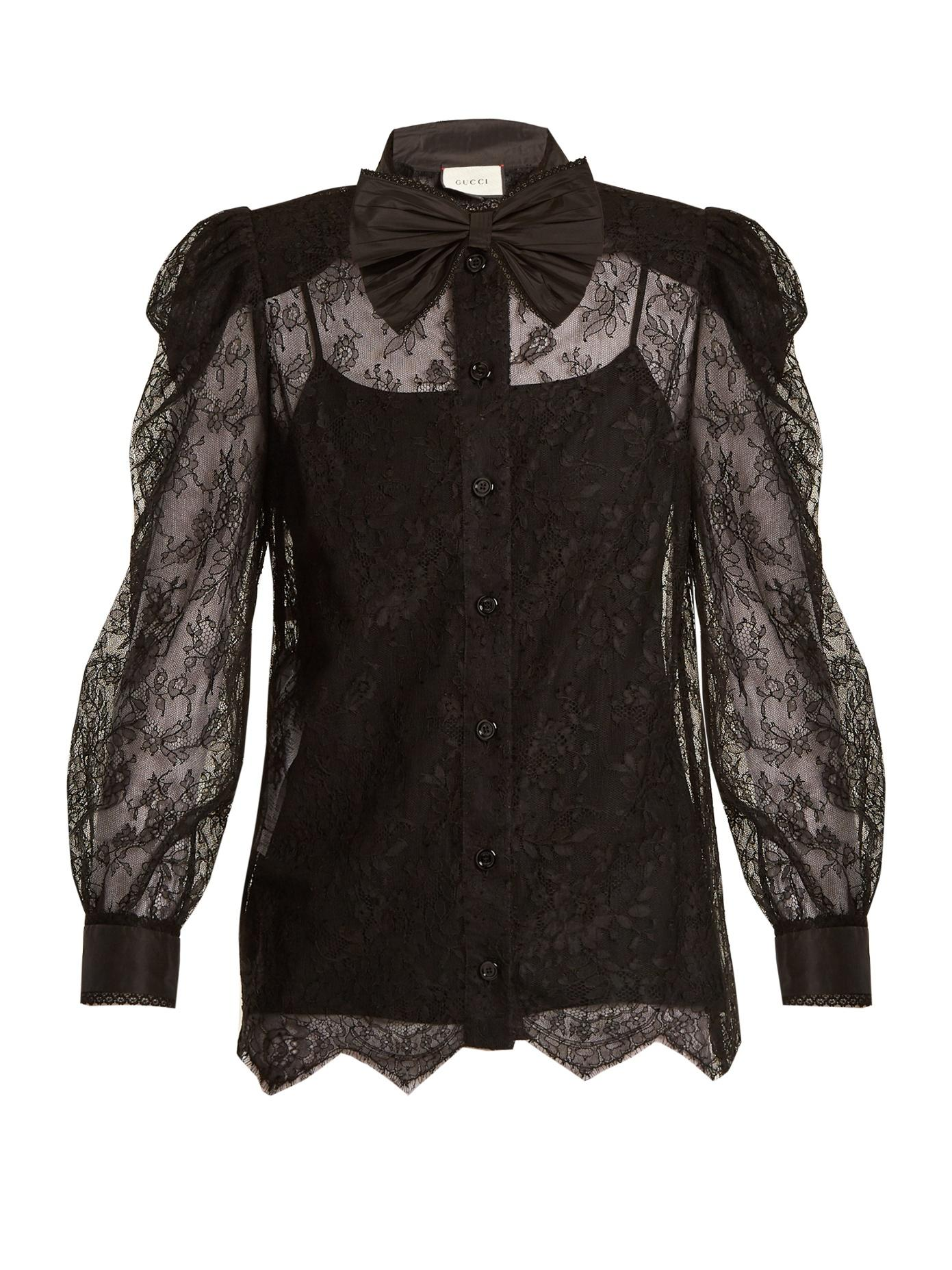 41b1b5e5f3bc2 Gucci Pussy-Bow Chantilly Lace Blouse In Black