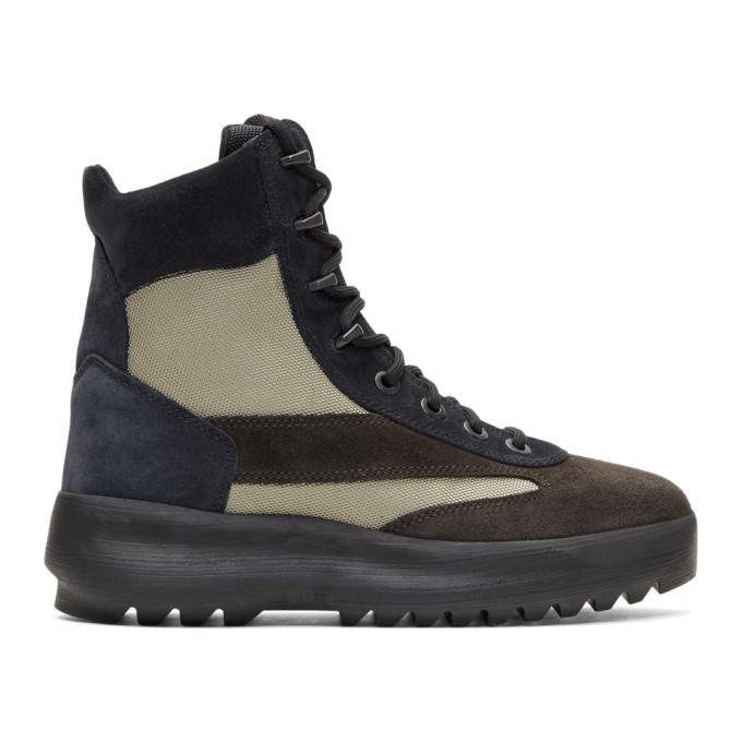f14451c688c19 Yeezy Season 5 Leather And Nylon Military Boots In Brown