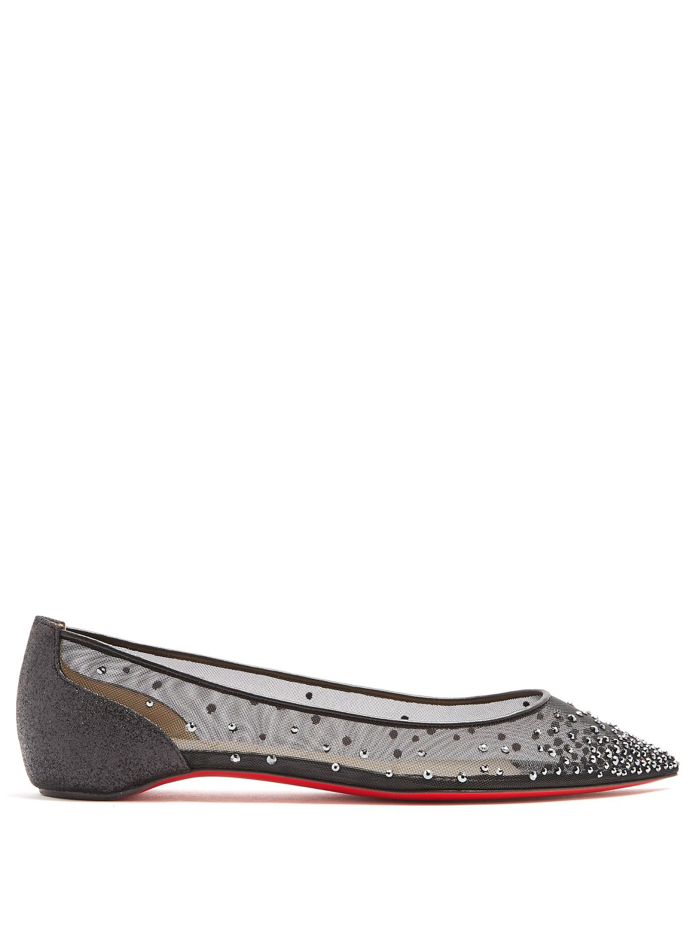 Christian Louboutin Follies Strass Crystal Embellished Flat In Black