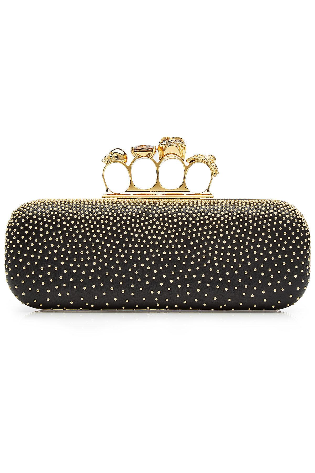 0886bf963b560 Alexander Mcqueen Knuckle Studded Leather Box Clutch Bag, Black ...