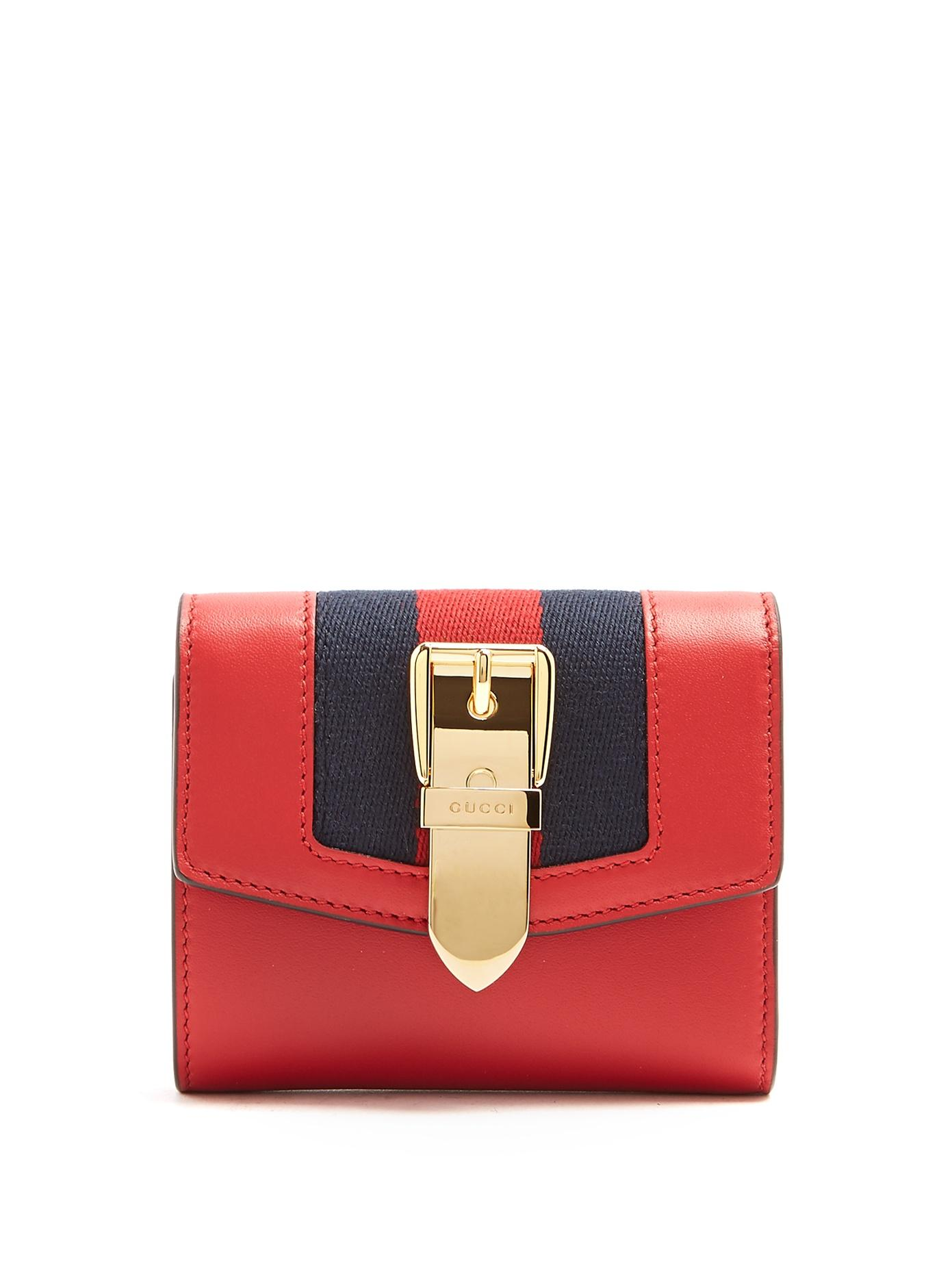 9544f0294d8522 Gucci Sylvie Canvas-Trimmed Leather Wallet In Red | ModeSens