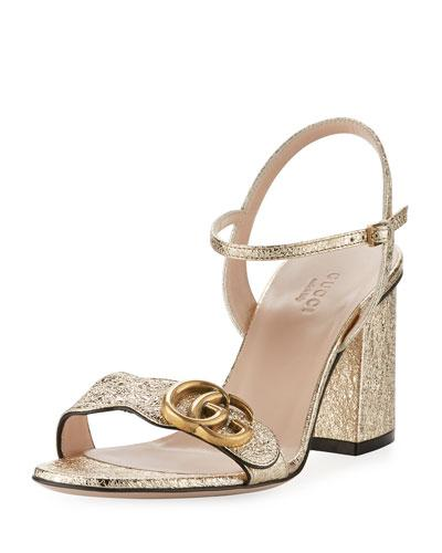 84dffc223825 Gucci Marmont Logo-Embellished Metallic Cracked-Leather Sandals In Gold