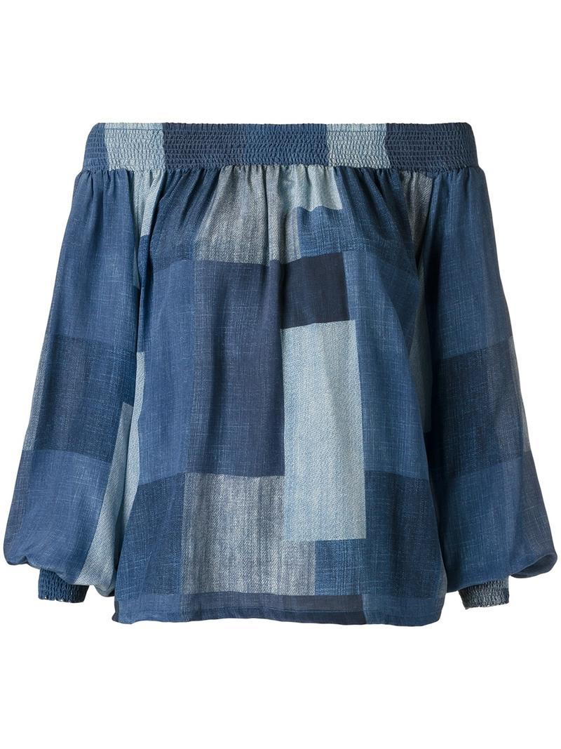 Amir Slama Off The Shoulder Panelled Blouse - Blue