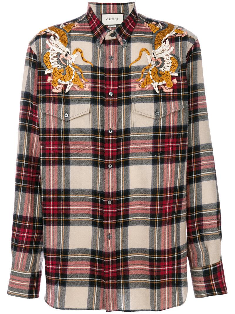 772955d46ac Gucci Dragon-Embroidery Checked Wool Shirt In Multi