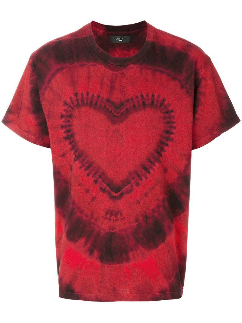 3784b970 Amiri Heart Tie-Dye Cotton-Jerey T-Shirt In Red   ModeSens