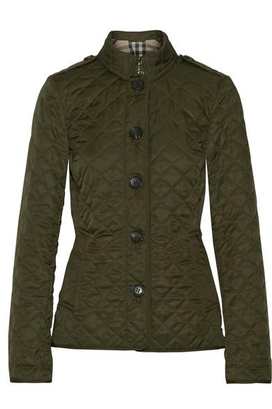 Burberry Green Diamond Quilted Ashurst Jacket In Dark Olive