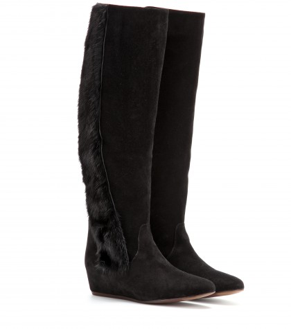Lanvin Suede Concealed Wedge Boots In Eoir