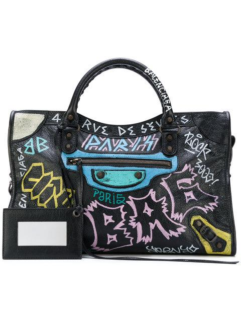 17bbff738ae Balenciaga Classic City Printed Textured-Leather Tote In Black ...