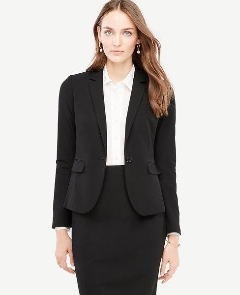 d3dc97126 Ann Taylor Petite Seasonless Stretch One Button Perfect Blazer In Black