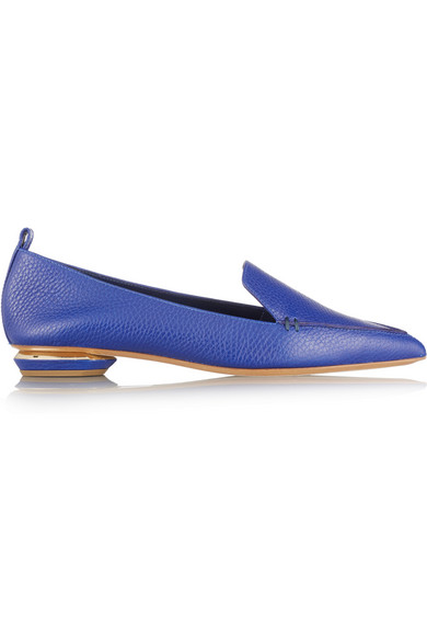 Nicholas Kirkwood Metallic Textured-leather Point-toe Flats In Cobalt-blue