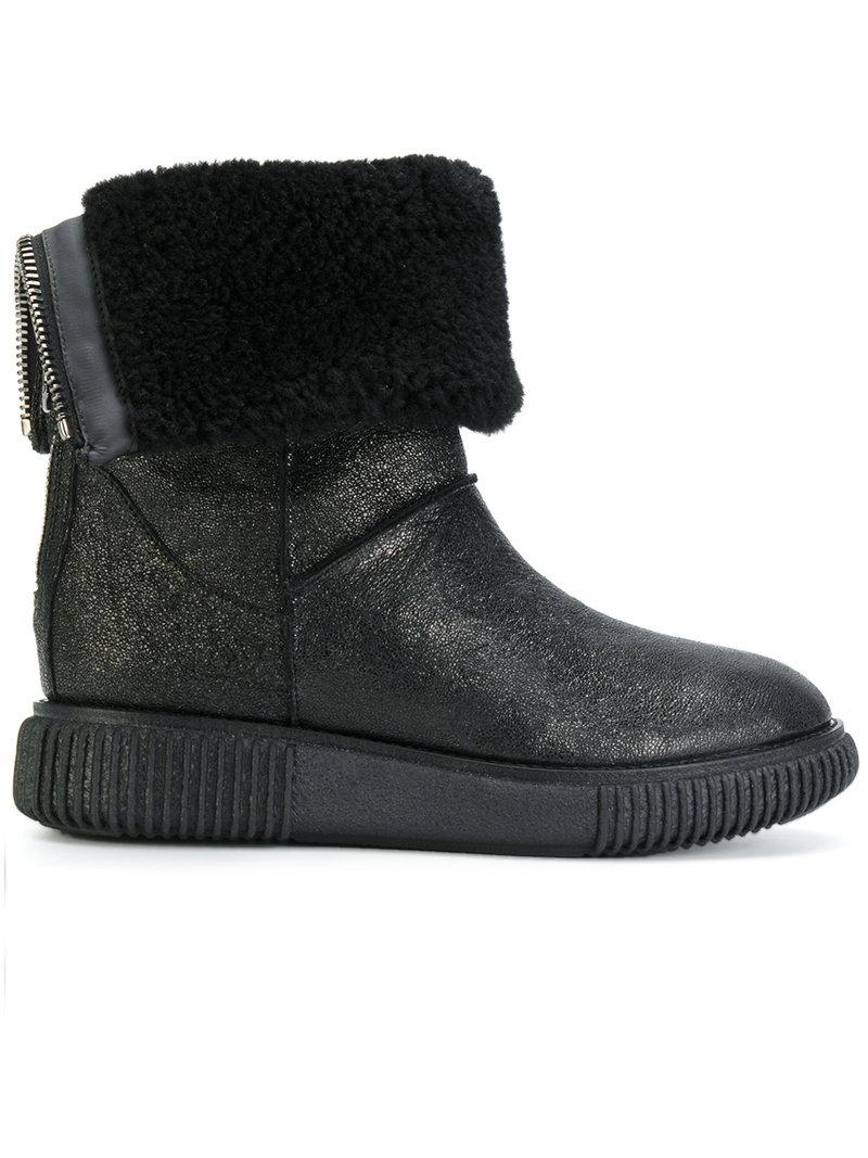 d7d17918b660b Moncler New Christine Fur-Lined Leather Ankle Boots In Black | ModeSens