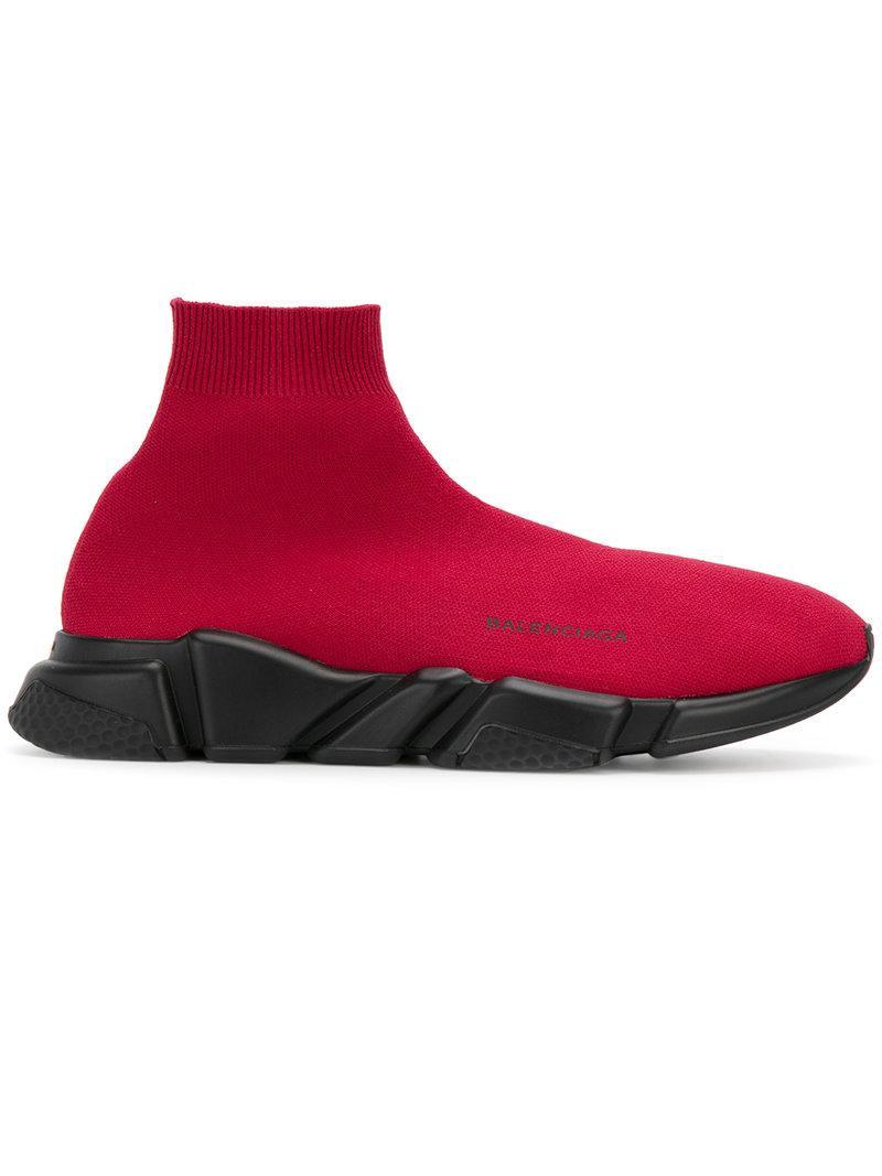 2d6064c8f42 Balenciaga Men s Speed Knit Sneakers In Bordeaux