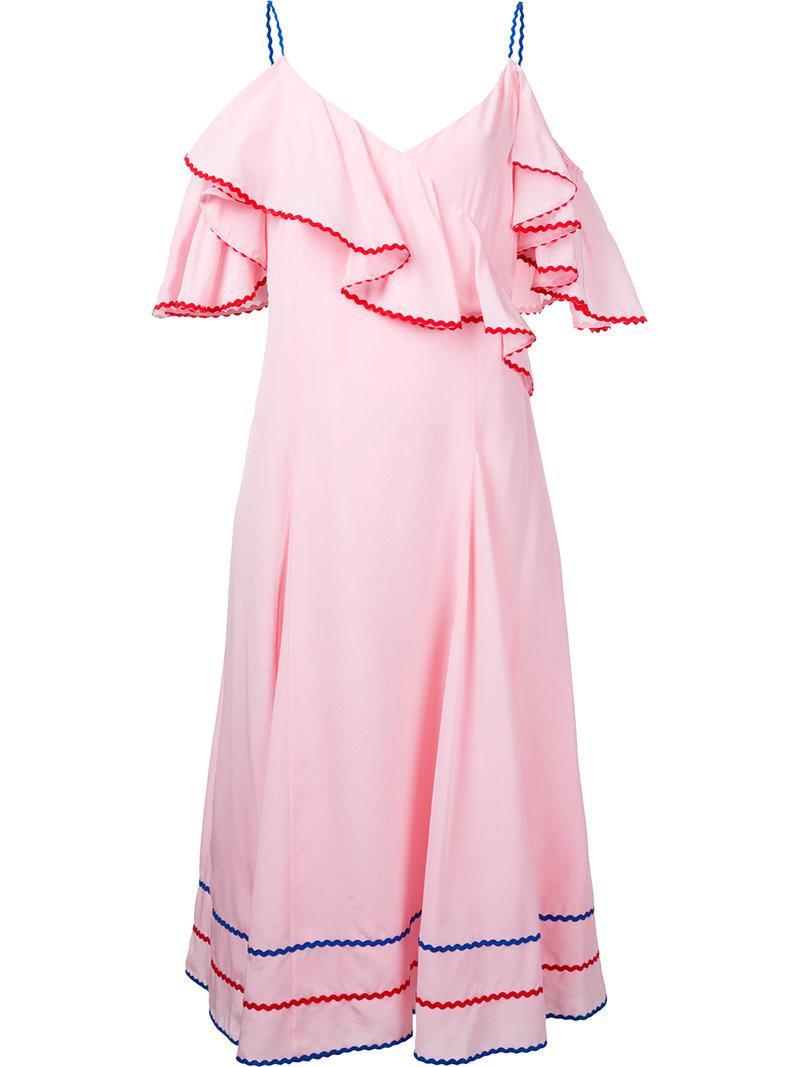 Anna October Ruffled Cold Shoulder Dress - Pink