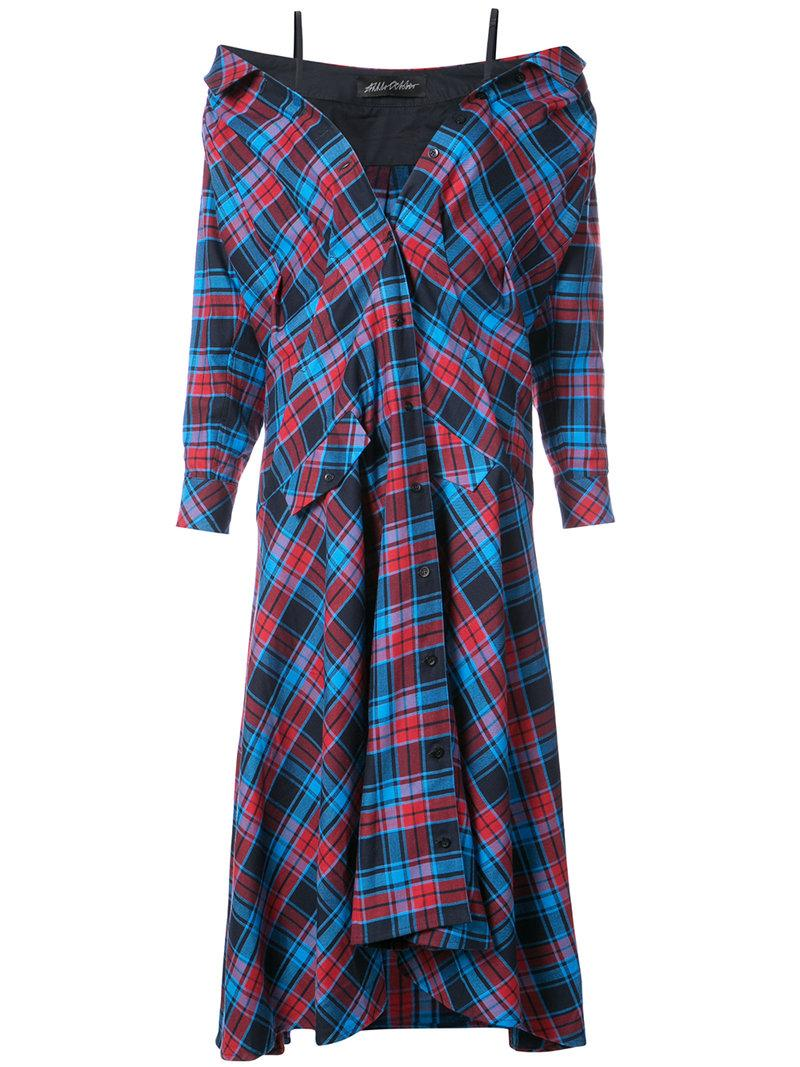 Anna October Plaid Cotton Dress In Red
