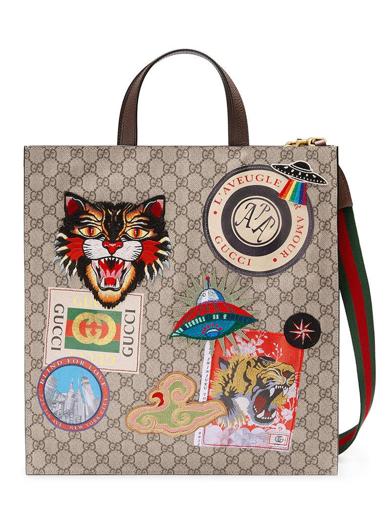 ff9bc93a6fb Gucci AppliquÉD Gg Supreme Shopper Tote Bag - Beige