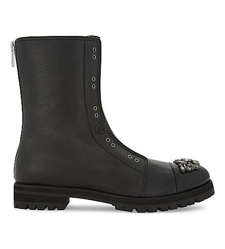 a9092f65a Jimmy Choo Hatcher Black Grainy Leather Combat Boots With Crystal Detail