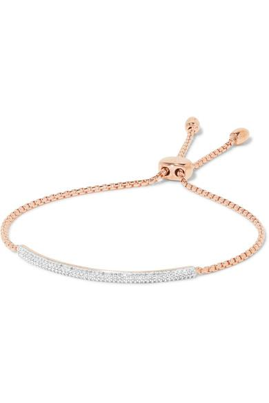 Monica Vinader Stellar Pave Mini Bar Rose Gold Vermeil Diamond Bracelet