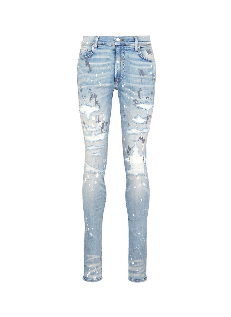 5b1a2024d24 Amiri 'Painter' Ripped Skinny Jeans In Blue   ModeSens