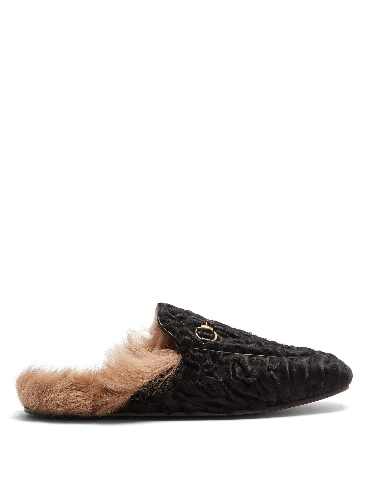 bb8e956c1bc Gucci Princetown Lamb Fur Slippers In Black
