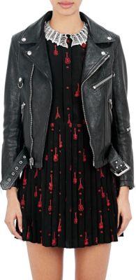 Saint Laurent Leather Moto Jacket In Black