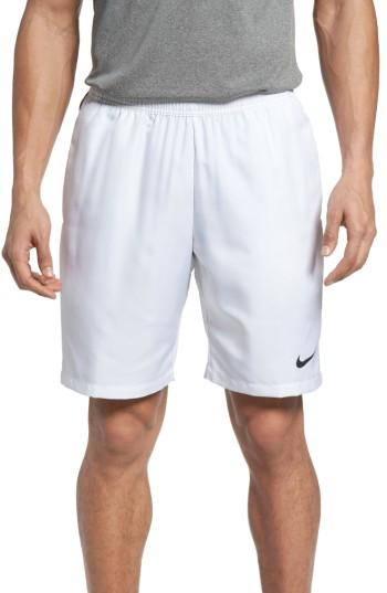 "Nike Men's 9"" Court Dry Tennis Shorts In White/blac"