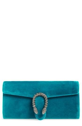 c5765ead7d02 Gucci Dionysus Velvet Clutch - Blue In Pivone Blk Diamond