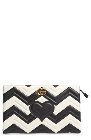 Gucci Gg Marmont Matelasse Leather Clutch - White In White/ Nero