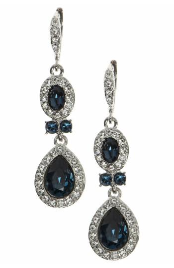 Givenchy Faceted Stone And Crystal Long Linear Drop Earrings In Navy Blue