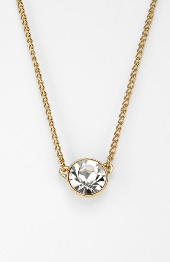 "Givenchy Necklace, Swarovski Element Pendant, 16"" + 2"" Extender In Gold-tone"