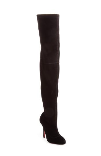 f7ea205a50d Christian Louboutin Classe 100 Stretch-Velvet Over-The-Knee Boots In Black