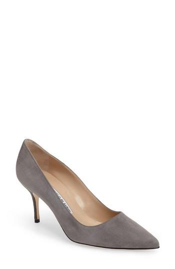 Manolo Blahnik Bb Suede Mid-heel Pump, Gray In Grey Suede