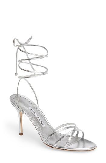7e69b89459 Manolo Blahnik Leva Metallic Strappy Ankle-Wrap Sandals, Silver ...