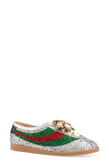 bc0fb53c0ed Gucci Falacer Metallic Glittered Leather Low-Top Trainers In Grey ...