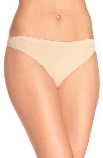Calvin Klein Pure Seamless Thong Qd3544 In Bare