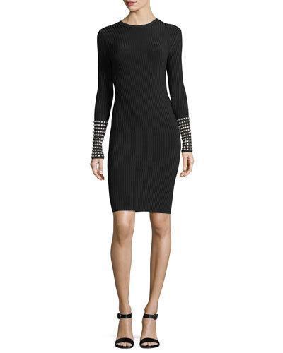 f72fe046cf706 Alexander Wang Long Sleeve Dress With Crystal Cuff Trim In Black ...