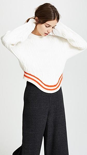 4cf98e711f Esteban Cortazar Crewneck Cable-Knit Poet-Sleeve Sweater In Ecru ...
