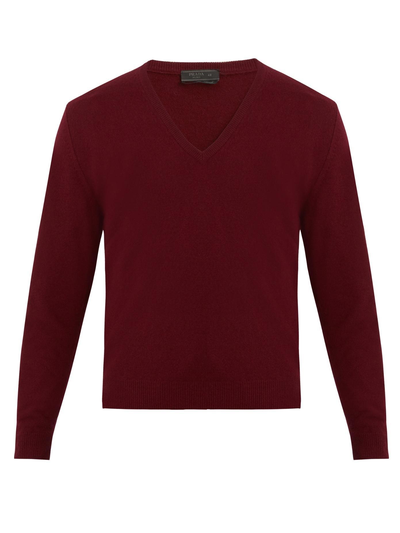 Prada V-neck Cashmere Sweater In Burgundy