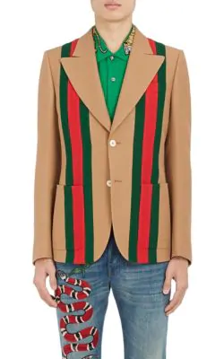 b729ff6b839 Gucci Camel Striped Wool And Silk-Blend Crepe Suit Jacket In Tan ...