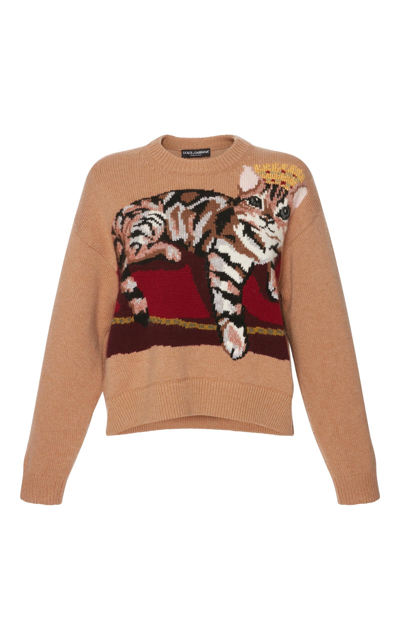 db6f999ffc97e3 Dolce & Gabbana Dolce And Gabbana Tan Cashmere Crowned Bengal Cat Sweater  In S9005 Camel Multi