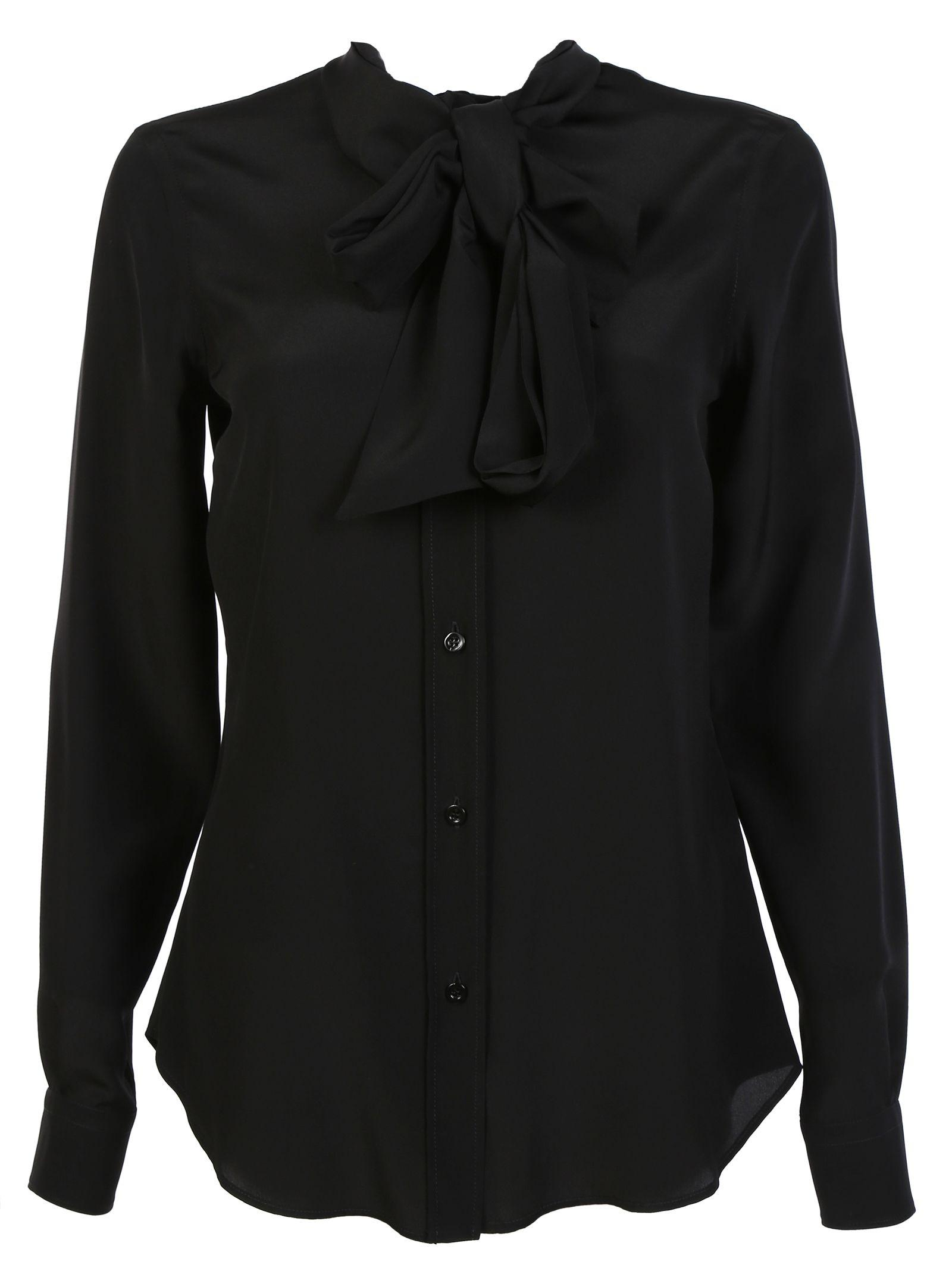 Moschino Silk Pussybow Blouse In Black
