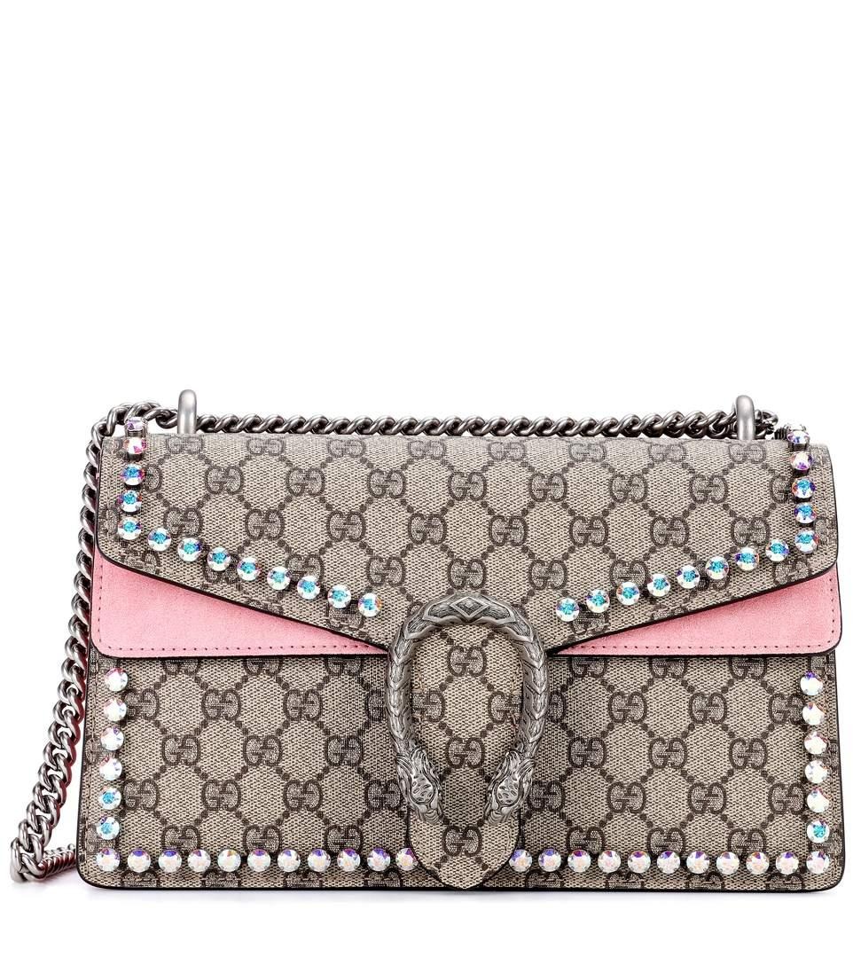 ae4e395f3429 Gucci Small Dionysus Crystal Embellished Gg Supreme Canvas   Suede Shoulder  Bag - Beige