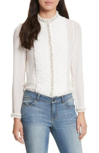 6db504dd30c40 Alice And Olivia Arminda Button-Down Ruffled Chiffon Blouse W  Pearlescent  Trim In Off