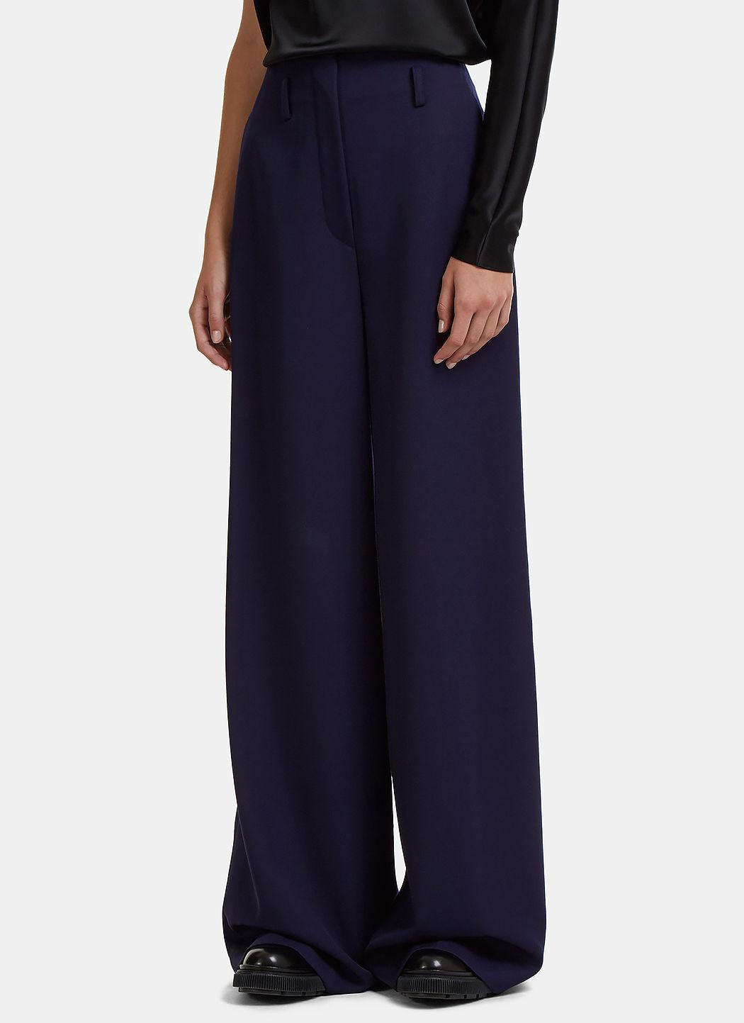 Lanvin High-waisted Wide Leg Twill Pants In Navy