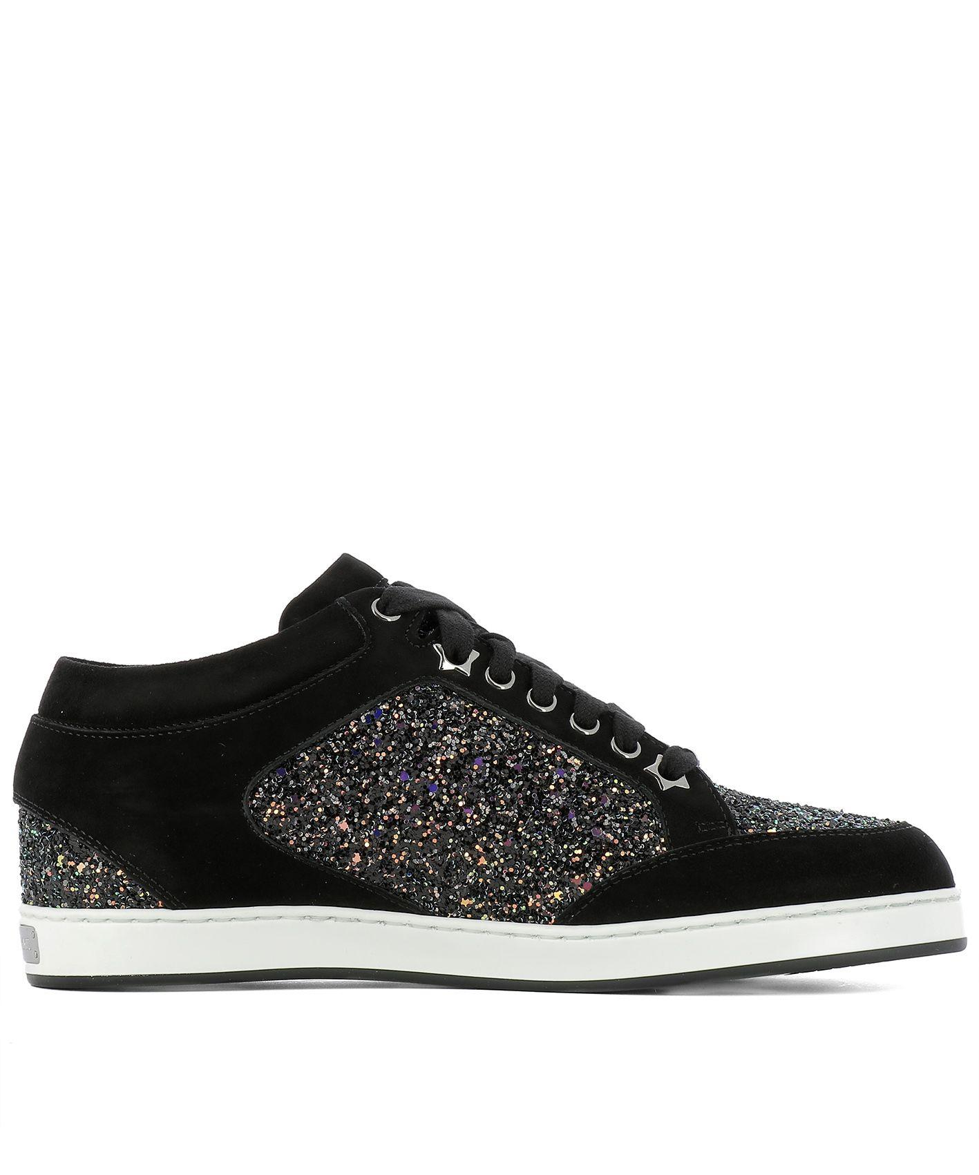 a3c5c5743a5f43 Jimmy Choo Miami Rainbow Coarse Glitter And Black Suede Sneakers In Rainbow  Black