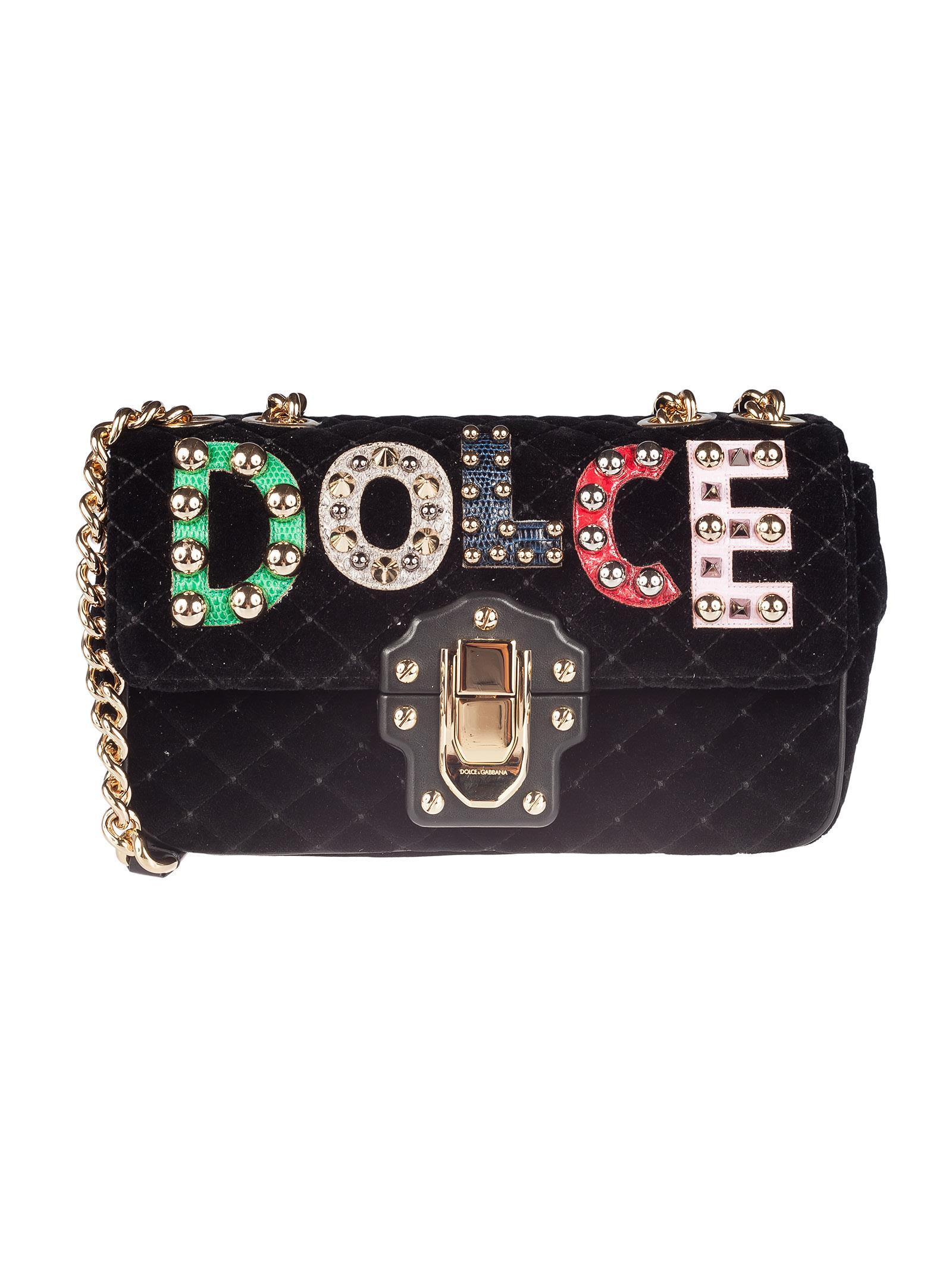 f023dc605b Dolce & Gabbana Velvet Lucia Small Shoulder Bag In Black | ModeSens