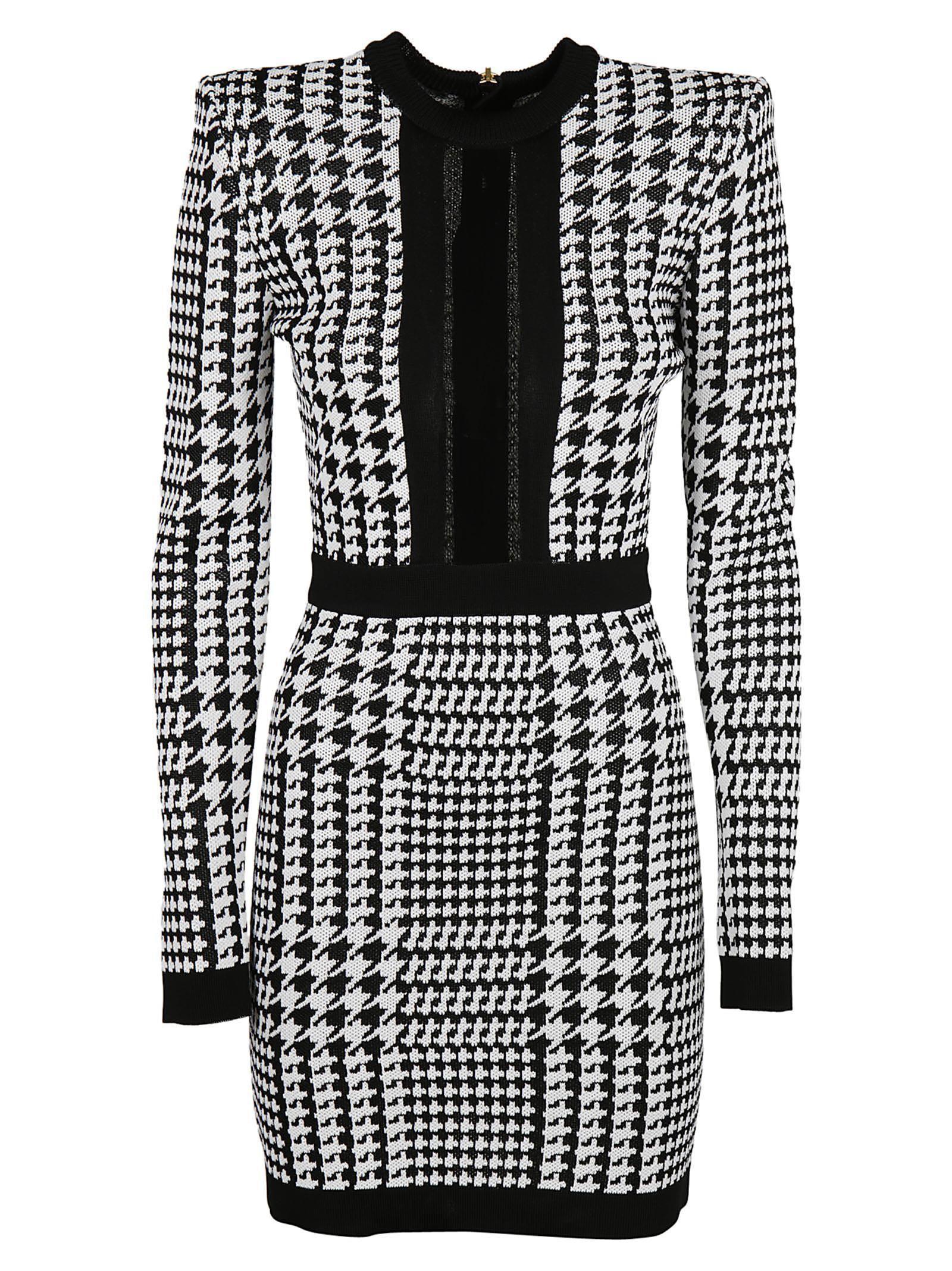 a8171dc9 Balmain Houndstooth Mesh-Trimmed Stretch-Knit Mini Dress In Black ...