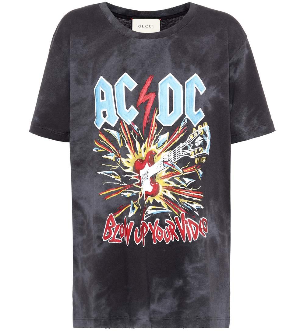 34356ad12f0 Gucci Black Ac Dc-Print Tie-Dye Cotton T-Shirt In Charcoal